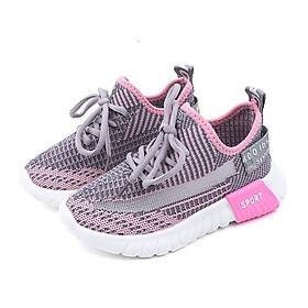 Giày thể thao bé gái 1 - 12 tuổi màu hồng buộc dây xinh xắn GE05