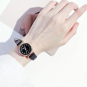 Đồng hồ thời trang nữ Hv1 mặt kính viền kim loại dây da mềm- không kèm vòng tay