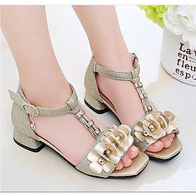 Sandal hoa vàng cao gót bé gái 3 - 12 tuổi kiểu dáng Hàn Quốc - SD51