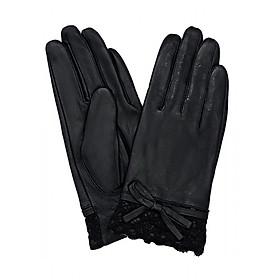 Găng tay nữ da dê thật màu đen EGW125