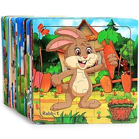 Tranh ghép gỗ 20 mảnh - Combo 5 tranh bộ động vật