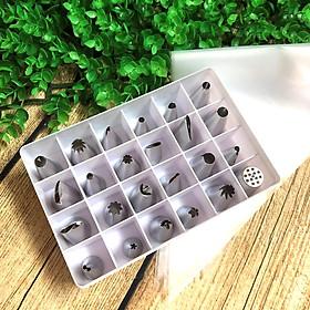 Bộ 24 ĐUI DÙ BẮT BÁNH BÔNG KEM [TẶNG 100gr túi nilong]. Bộ dụng cụ làm BÁNH SINH NHẬT chuyên nghiệp Chất liệu INOX dễ dàng vệ sịnh, sử dụng AN TOÀN