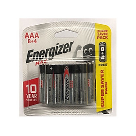 Pin Max 8 + 4 Viên Energizer E91 BP8+4 AAA (Bao bì mới)
