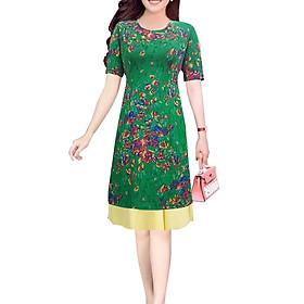 Áo dài nữ kèm chân váy hoa lá SP7