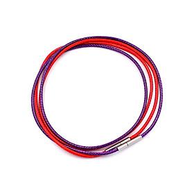 Combo 2 dây vòng cổ cao su đỏ, tím móc inox DCSOI1 - Dây dù bọc cao su