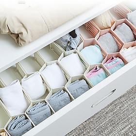 Bộ sản phẩm vách ngăn tủ 17 ô hình tổ ong để tất vớ đồ dùng vật dụng nhỏ và mỹ phẩm gọn gàng ngăn nắp tiết kiệm diện tích cho tủ quần áo nhà bạn
