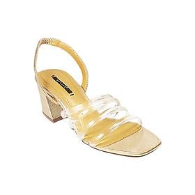 Giày Sandal Gót Vuông Dây Trong Phối Ánh Kim Sulily SGV1-II17VANGKIM