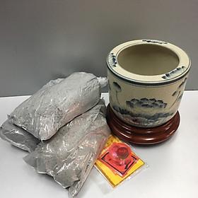 Bát hương, lư hương mẫu vẽ sen  men rạng chìm ,combo bát hương, đế gỗ + tro đủ bát + bộ thất bảo để trong bát hương