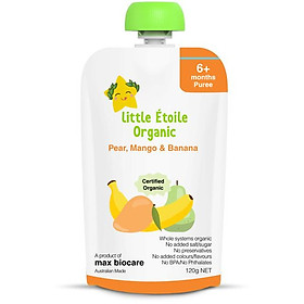 Thực phẩm ăn dặm hữu cơ Little Étoile Organic vị lê, xoài và chuối