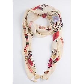 Khăn Choàng Cổ Màu Vàng Kem Họa Tiết Hoa - Cotton Viscose - 180x90cm - Mã KC052