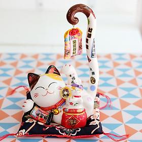 """Mèo Thần tài Đuôi dài """"Khai Vận Chiêu Tài"""" 23cm"""