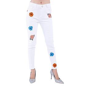 Quần Jeans Kaki Nữ Thêu Hoa Rơi JNT006 - Trắng