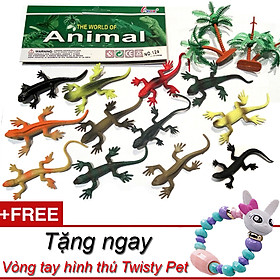 Bộ 12 thằn lằn Animal World có cây trang trí tặng kèm vòng tay thời trang Twisty Petz cho bé làm đồ chơi sưu tập khám phá