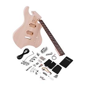 Bộ Dụng Cụ DIY Lắp Ráp Đàn Guitar Điện Thân Gỗ Trầm Và Cổ Bàn Phím Gỗ Hồng Sắc Kèm Cầu Rung Muslady