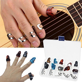 Pack of 15 Guitar Thumb Finger Picks, Colorful Nail Plectrum, for Guitar Bass Banjo Plastic and Stainless Steel 15 Grid Box