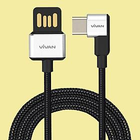 Dây cáp sạc truyền dữ liệu Vivan USB Type C   Cáp chữ L gập 90 độ màu Trắng/Đen 5V - 3A Gọn Tay   Cho thiết bị di động/điện thoại Android (Samsung, Xiaomi, LG, vv) - Hàng Chính Hãng