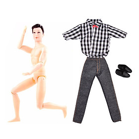 Tailored Boy Doll with Casual Wear Plaid Doll Clothes Jacket Pants Outfits Suit BK