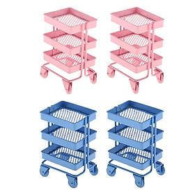 4x 1:12 Mini Metal Storage Shelf w/ 4 Wheels Dollhouse Furniture Accs Pink+Blue