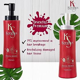 Dầu xả Kerasys Oriental Premium phục hồi tóc Hàn Quốc 600ml (Thảo mộc hạt trà ) tặng kèm móc khoá-3