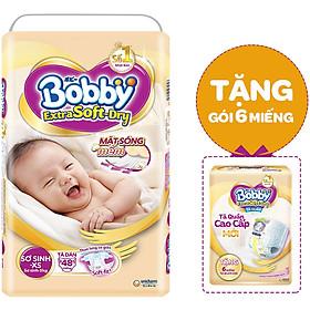 Tã dán cao cấp Bobby Extra Soft Dry XS48 (48 miếng) - Tặng gói 6 miếng ESD