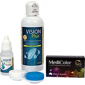 COMBO F Kính Áp Tròng Màu Đen Mediclear + Nước Ngâm + Nhỏ Mắt