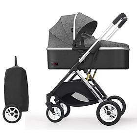 Xe đẩy trẻ em 2 chiều 3 tư thế gấp gọn, xe đẩy du lịch, xe đẩy nôi cho bé siêu nhẹ, chỉ 7KG ( xám )