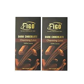 Combo 2 hộp Kẹo Socola đen nguyên chất 100% cacao không đường 50g Figo