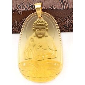 Mặt dây chuyền Phật Bản Mệnh 12 Con Giáp Pha Lê Vàng móc inox vàng - Mang lại may mắn, bình an