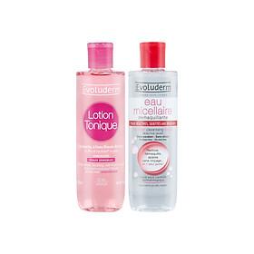 Bộ 2 sản phẩm nước hoa hồng Lotion Tonique 250ml và Tẩy trang Evoluderm Micellaire 250ml cho da khô và nhạy cảm