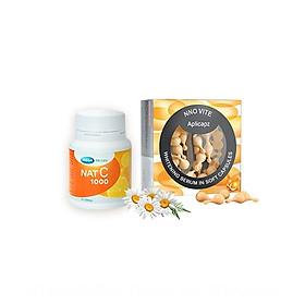 Combo Serum NNO VITE và Thực phẩm bảo vệ sức khỏe MEGA WECARE Nat C - bộ đôi trắng tác động kép bao gồm:  1 Hộp Serum dưỡng trắng Vitamin C NNO VITE (hộp 30 viên nang đục) & 1 chai Nat C – Viên uống Vitamin C (chai 30 viên nén) (Bộ sản phẩm làm đẹp)