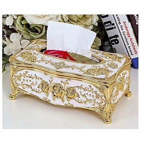 Hộp đựng giấy ăn mạ vàng trang trí hoa văn tinh xảo mang tính nghệ thuật cao phong cách cổ điển Châu Âu Shop giao mầu vàng