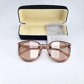Mắt kính mát nữ thời trang form mắt mèo màu nâu trong, dùng cả ngày và đêm, chống tia UV. Mã DKY5044TR.