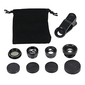 Universal Mobile Phone Lens 5 in 1 Fish Eye Wide Angle Macro 2X Teleconverter CPL Lens Detachable Clip-on Camera Lens