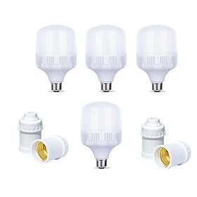 Bộ 4 Bóng đèn Led Trụ buld 30w / 40w / 50w  và 4 đui đèn E27 xoáy trắng