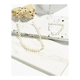 Bộ dây chuyền vòng tay ngọc trai trắng mini