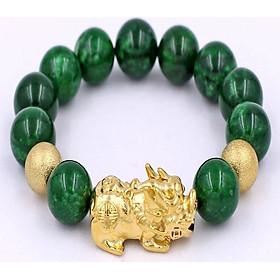 Chuỗi hạt đeo tay cẩm thạch đông ninh - Vòng tay 14 ly tỳ hưu inox vàng VCTDNTHHBV14 - Mệnh Mộc, Hỏa