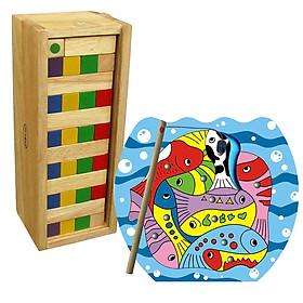 Đồ chơi gỗ câu cá + Đồ chơi gỗ rút thanh (Com bo 2 món đồ chơi gỗ phát triển trí tuệ cho bé