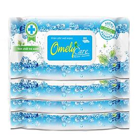 Combo 4 Gói Khăn ướt Omely Care (80 miếng/gói)