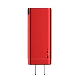 Củ Sạc Baseus GaN Mini Fast Charging Charger C+C+A 65W CN Standard Plug Red Charging Set - Hàng chính hãng