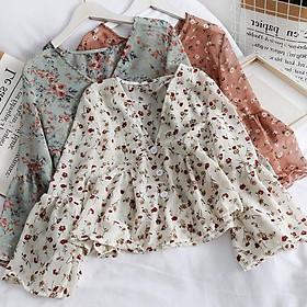 Women's Fashion V Neck Floral Print Sweet Small Fresh Long Sleeves Chiffon Shirt Blouses