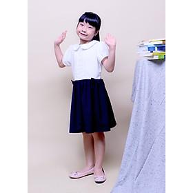 Đầm học sinh nữ cổ sen xếp li ngực, đồng phục học sinh cấp 1, cấp 2, đồ đi học xinh cho bé gái