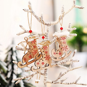 Siaonvr Christmas Decorations Painted Wooden Printed Skates Hemp Rope Small Pendant