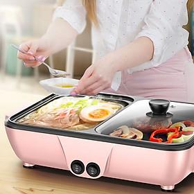 Bếp điện lẩu nướng 2 ngăn mini - Giao màu ngẫu nhiên