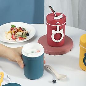 Bình Nhựa Ủ Cháo, Sữa, Thức Ăn Giữ Nhiệt 330ml Kèm Muỗng, Có Lỗ Cắm Ống Hút Chống Đổ Nước Tiện Dụng - Giao ngẫu nhiên