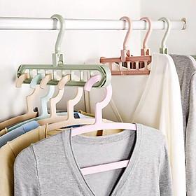 5 móc treo quần áo màu Xanh - Móc treo 9 lỗ thông minh đa năng, tiết kiệm diện tích