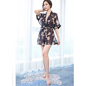 Áo choàng nữ kimono đi biển voan hoa to gợi cảm chất đẹp kèm quần chip lọt khe