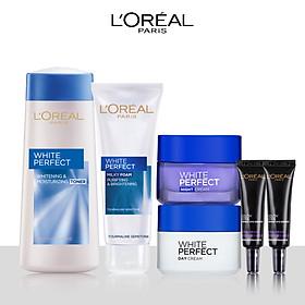 Bộ sản phẩm làm sạch, dưỡng trắng trẻ hóa da toàn diện L'Oreal Paris White Perfect (SRM,NHH,Kem N-D,YC x2)