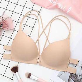Áo bra đúc su bàn tay nâng ngực dây đan chéo sexy, áo lót cài trước không gọng siêu mềm