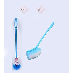 Bộ Vệ Sinh 1 Cọ Rửa Đầu Tròn Và 1 Bàn Chải Đầu Vuông Chà Rửa Bồn Cầu Toalet + 2 Miếng Dán Tiện Ích