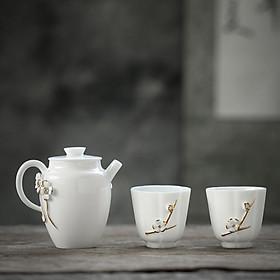 Hình đại diện sản phẩm Su Shi ceramic SUSHI CERAMICS non-legacy master tea set Chen Deqiang hand-painted gold sheep fat jade white porcelain one teapot two tea cup kung fu tea gift box